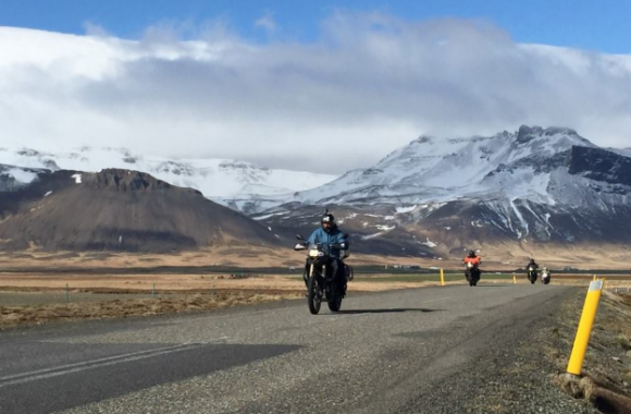 Riding a motorcycle to Iceland