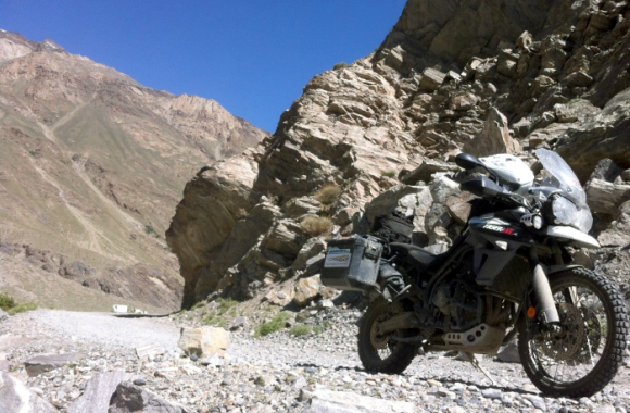 Crossing Pamir Mountains motorcycle